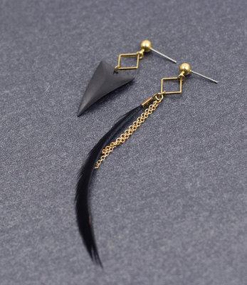 Goud-zwarte asymmetrische driehoek oorbellen stekers