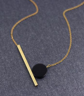 Korte geometrische zwarte maan ketting