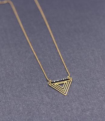 Lange driehoek ketting met hematiet