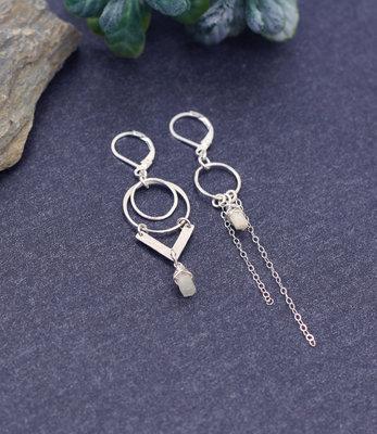 Sterling zilver oorbellen met aquamarine