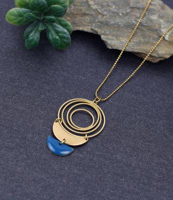 Goud blauw cirkels halssnoer