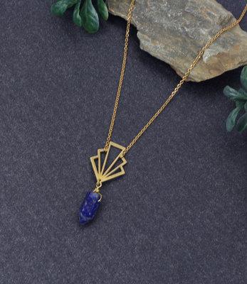 Lange blauw art deco lapis lazuli halssnoer