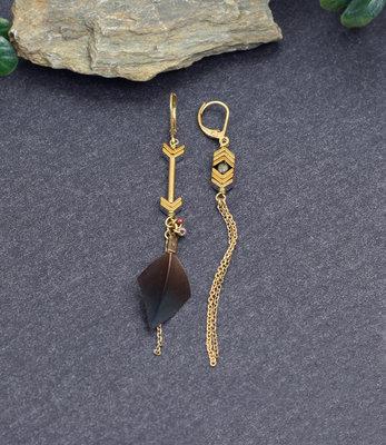 Goud-brons asymmetrische oorbellen