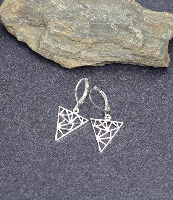 Sterling zilver driehoek oorbellen