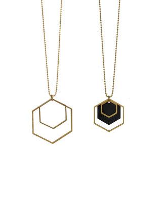 Lange zwart gouden zeshoeken halssnoer