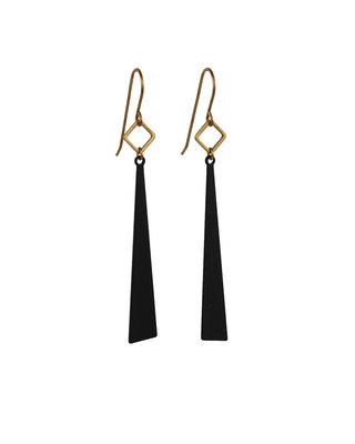 Lange oorbellen met zwarte driehoeken