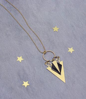Lange zwart goud art deco V halssnoer