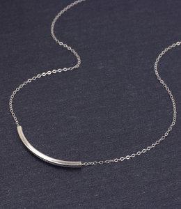Korte buisje ketting in zilver