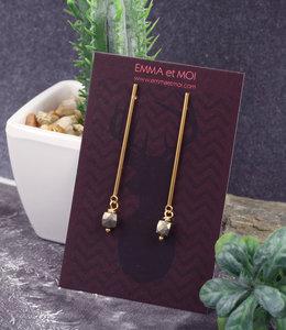 Gouden oorstekers met pyriet