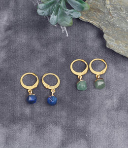 Mini oorringen met lapis lazuli